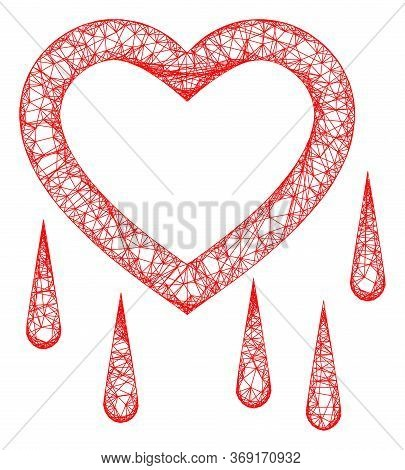 Web Mesh Crying Heart Vector Icon. Flat 2d Carcass Created From Crying Heart Pictogram. Abstract Car