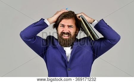 Oh No. Company Executive Working With Documents. Mature Man In Jacket Hold Office Folder. Business I