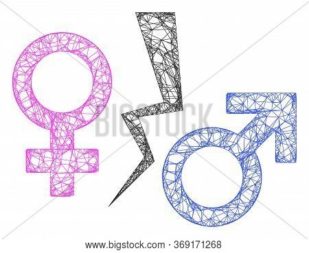 Web Net Divorce Symbol Vector Icon. Flat 2d Carcass Created From Divorce Symbol Pictogram. Abstract