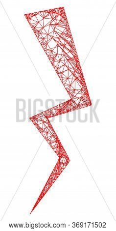 Web Network Electric Strike Vector Icon. Flat 2d Carcass Created From Electric Strike Pictogram. Abs