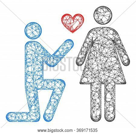 Web Mesh Engagement Persons Vector Icon. Flat 2d Carcass Created From Engagement Persons Pictogram.