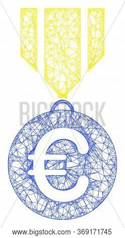 Web Network Euro Medal Vector Icon. Flat 2d Carcass Created From Euro Medal Pictogram. Abstract Carc