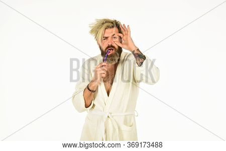 Freshness And Cleanliness. Oral Hygiene. Man In Bathrobe Hold Toothbrush. Personal Hygiene. Bearded