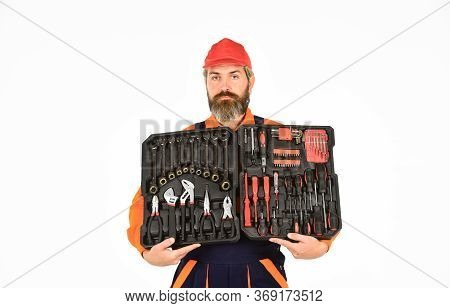 Electrician Tools. Professional Equipment. Custom Woodworkers. Set Of Tools. Screwdrivers Set. Man C