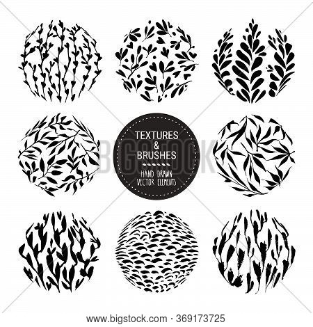 Floral Round Textures For Organic Branding, Fashion Textile, Botanical Prints. Hand Drawn Flower Her