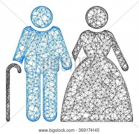 Web Mesh Grandparents Couple Vector Icon. Flat 2d Carcass Created From Grandparents Couple Pictogram