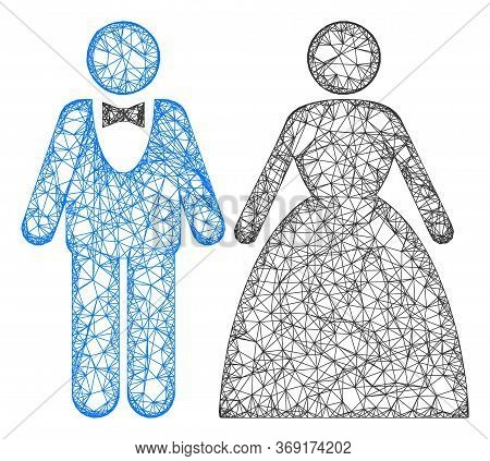 Web Net Groom With Bride Vector Icon. Flat 2d Carcass Created From Groom With Bride Pictogram. Abstr