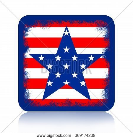 American Flag Grunge Styled Icon, Badge Or Banner Isolated On White Background