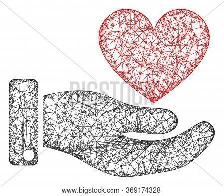 Web Net Hand Offer Love Heart Vector Icon. Flat 2d Carcass Created From Hand Offer Love Heart Pictog
