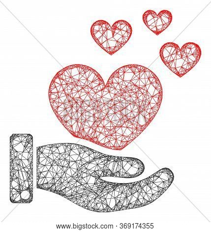 Web Net Hand Offer Love Hearts Vector Icon. Flat 2d Carcass Created From Hand Offer Love Hearts Pict