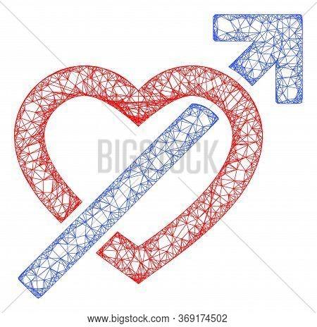 Web Mesh Heart Penetration Arrow Vector Icon. Flat 2d Carcass Created From Heart Penetration Arrow P