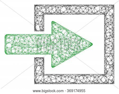 Web Mesh Import Arrow Vector Icon. Flat 2d Carcass Created From Import Arrow Pictogram. Abstract Fra