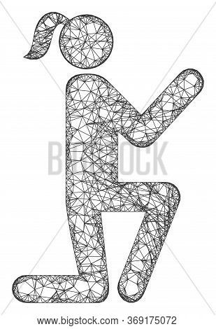 Web Net Knee Standing Girl Vector Icon. Flat 2d Carcass Created From Knee Standing Girl Pictogram. A