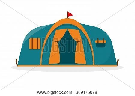 Tourist Camping Tent Isolated On White Background. Blue And Orange Hiking And Camping Tent Icon Vect
