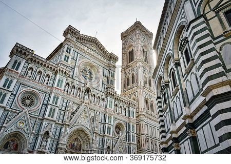 Florence Cathedral Of Santa Maria Del Fiore, Giotto's Bell Tower And Baptistery On Piazza San Giovan