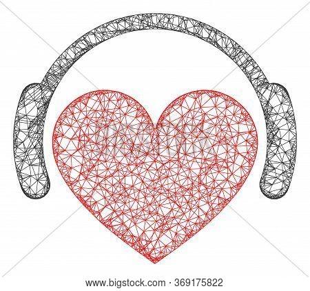 Web Network Love Heart Headphones Vector Icon. Flat 2d Carcass Created From Love Heart Headphones Pi