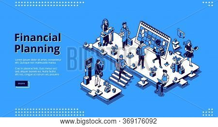 Financial Planning Banner. Business Finance Analysis, Report And Forecasting. Vector Landing Page Of