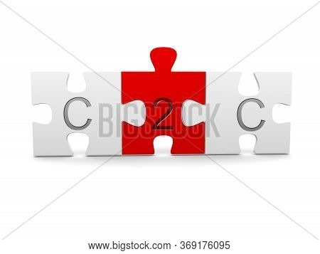 Three Jigsaw Puzzle Pieces With C2c, Consumer To Consumer, Text On White Background - Business Netwo