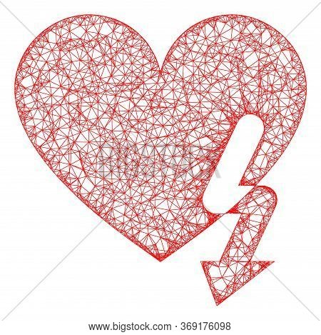 Web Mesh Love Heart Strike Vector Icon. Flat 2d Carcass Created From Love Heart Strike Pictogram. Ab