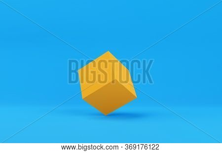 Orange Cube Box Primitive Geometry On Blue Background With Copy Space, Modern Minimal Concept, 3d Il
