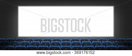 Cinema Screen, Lightbox In Movie Theater Hall With Seats Rows. Blank Television Monitor On Dark Wall