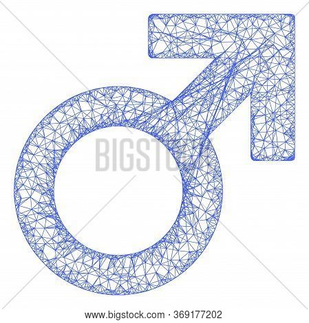 Web Mesh Male Symbol Vector Icon. Flat 2d Carcass Created From Male Symbol Pictogram. Abstract Carca