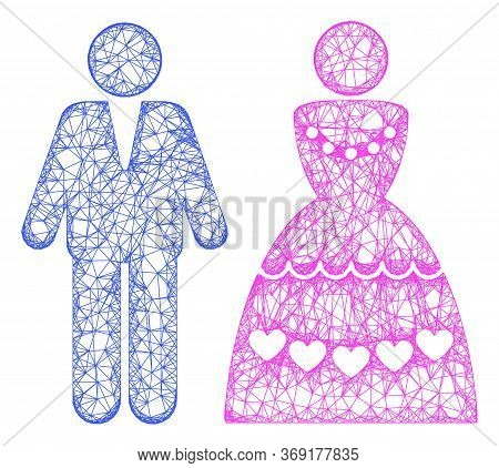 Web Mesh Marriage Couple Vector Icon. Flat 2d Carcass Created From Marriage Couple Pictogram. Abstra