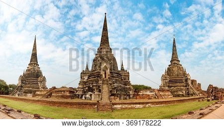 Panorama Of Temple Ruins Of Old Siam Capital Ayutthaya Historical Architecture Of Thailand. View To