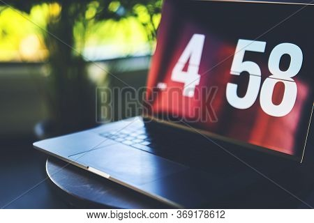 Open Laptop Computer With Beautiful Reflections On Screen, Modern Technology
