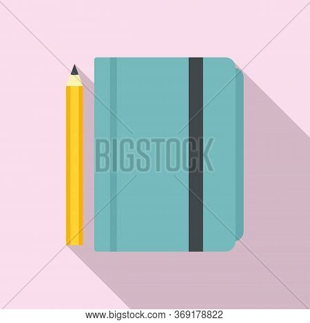 Tutor Lesson Notebook Icon. Flat Illustration Of Tutor Lesson Notebook Vector Icon For Web Design