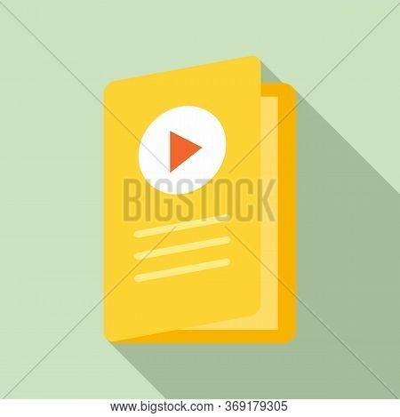 Video Lesson Folder Icon. Flat Illustration Of Video Lesson Folder Vector Icon For Web Design