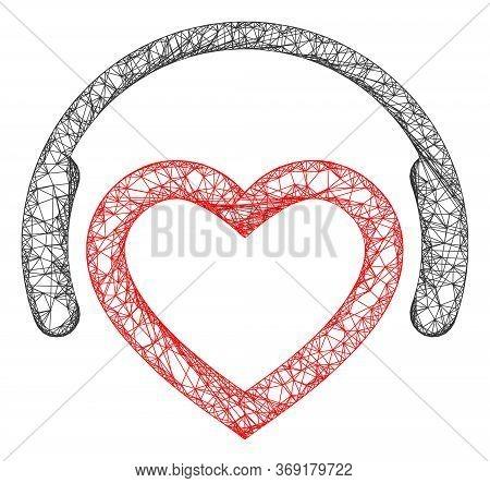 Web Mesh Romantic Dj Headphones Vector Icon. Flat 2d Carcass Created From Romantic Dj Headphones Pic