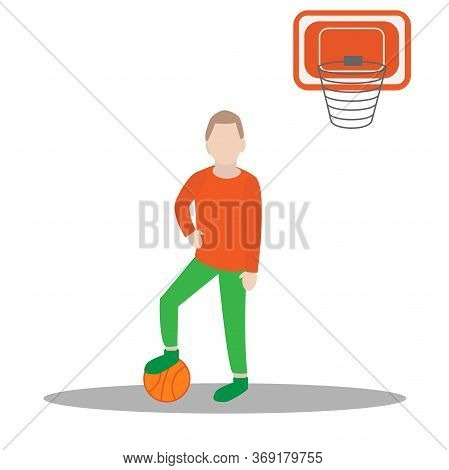 Vector Illustration Of A Boy Holding Basketball. Boy Plaing In A Ball.