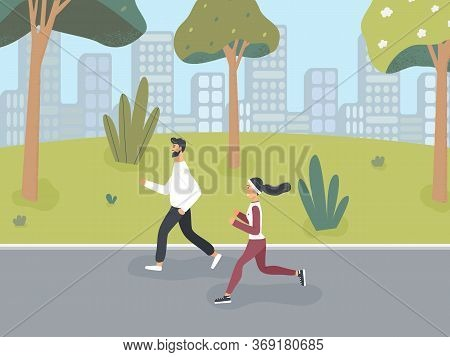 Happy Girl And Guy Dressed In Sportswear Jog In Spring Or Summer Park In Order To Lead Healthy Lifes