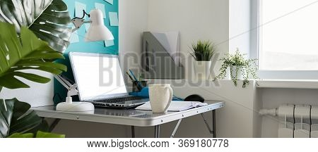 Home Office Workplace With Laptop. Modern Creative Workspace At Home. Banner