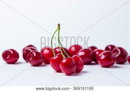 Three Red Cherries On One Stalk. In The Background A Lot Of Red Cherries. Red Ripe Sweet Cherries On