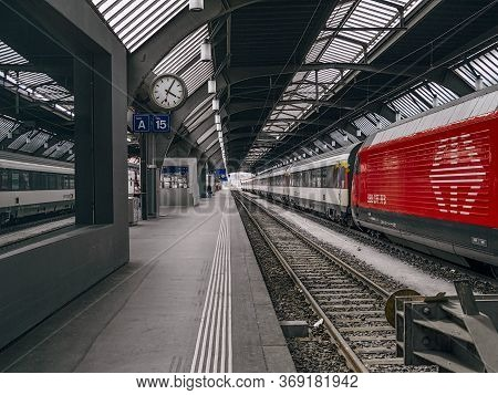 Zurich, Switzerland - May 30, 2020: Zurich Train Station In Zurich Switzerland.