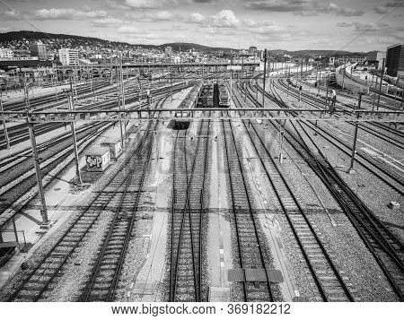Zurich, Switzerland - May 30, 2020: Hardbrucke Train Tracks And Station In Zurich Switzerland.
