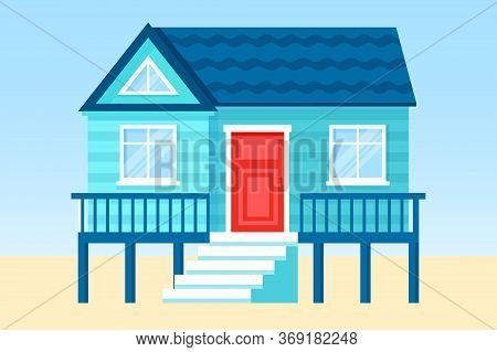 Flat Vector Tropical Illustration Of Beach Hut On Sandy Sea Side Lanscape. Concept Of Summer Vacatio