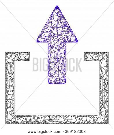 Web Mesh Upload Vector Icon. Flat 2d Carcass Created From Upload Pictogram. Abstract Frame Mesh Poly
