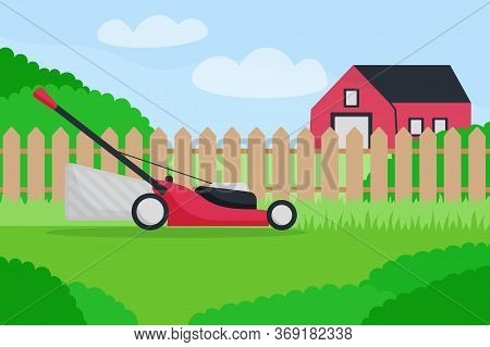 Flat Vector Illustration Of Lawn Mower On Farm Landsacpe. Modern Lawnmower Cutting Green Grass. Bann