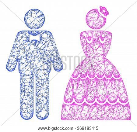 Web Network Wedding Pair Vector Icon. Flat 2d Carcass Created From Wedding Pair Pictogram. Abstract