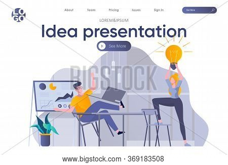 Idea Presentation Landing Page With Header. Startup Founders Discussing Project, Brainstorming And S