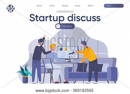Startup Discuss Landing Page With Header. Partners Discussing Project, Startup Team Collaboration An