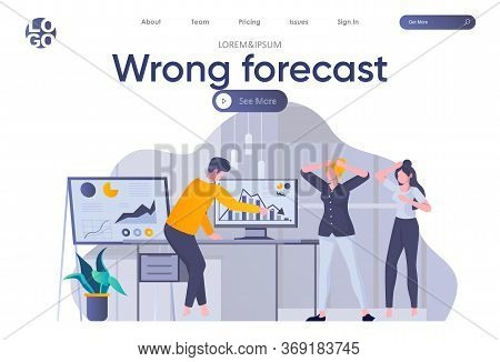 Wrong Forecast Landing Page With Header. Depressed And Shocked People Look At Falling Down Chart In
