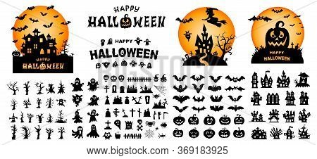Happy Halloween Text Banner. Set Of Silhouettes Of Halloween On A White Background. Vector Illustrat