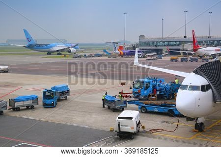 Amsterdam, Netherlands - July 7, 2017: Tui, Flybe, Corendon And Klm Aircraft At Schiphol Airport In