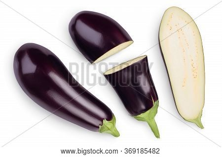 Eggplant Or Aubergine With Slices Isolated On White Background. Clipping Path And Full Depth Of Fiel
