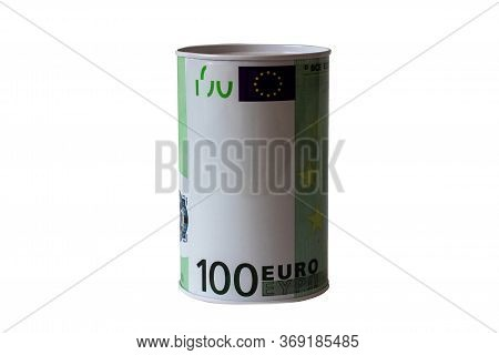 Bank-piggy Bank In The Form Of Euros On A White Background. Bank Piggy Bank For Money, Coins. Saving
