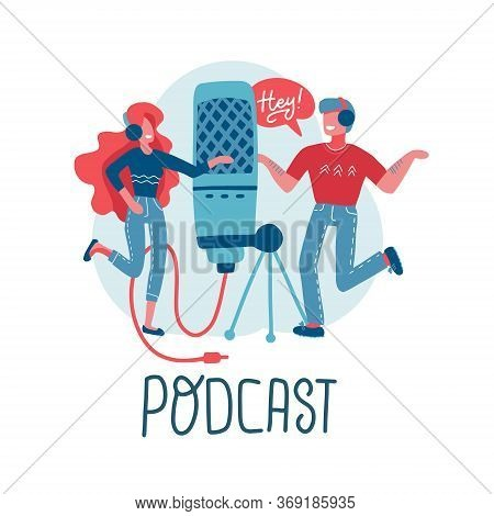 Online Training, Podcast, Radio. Podcast Concept . People Working Together For Creating Podcast. Car